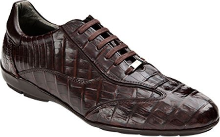 Mezlan Herenschoenen Glasgow Croc Sneaker Bruin Echte Krokodil / Nappa / Suede