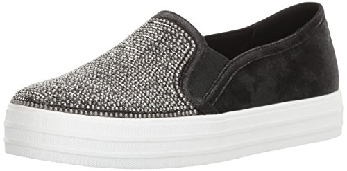 Skechers Street Women's Double up-Shiny Dancer Fashion Sneaker,Black,7 M US ()