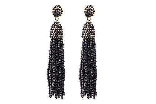 Mina Handmade Long Beaded Tassel Button Bead Cap Statement 4.5 Inch Drop Long Shoulder Duster Black Earring
