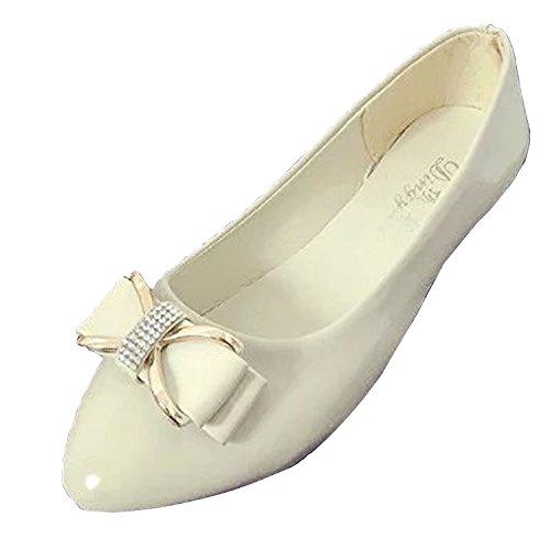 Gaorui Dames Comfort Bowtie Leren Ballet Platte Schoenen Casual Slip Op Mocassins Loafers Beige