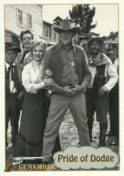 Gunsmoke Cast trading card Matt Dillon Festus Miss Kitty Doc Sam Newly 1993 Pacific #48]()