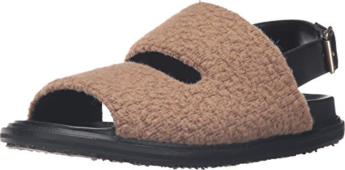 Marni Mens Lana Jersey Cammello A Punto Peloso Sandalo