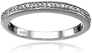 Sterling Silver Pave Diamond Wedding Anniversary Ring (1/20 cttw), Size 9