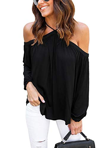 - YOINS Women's Spaghetti Halter Off The Shoulder Blouse Long Sleeve Shirt Tops Black XXL