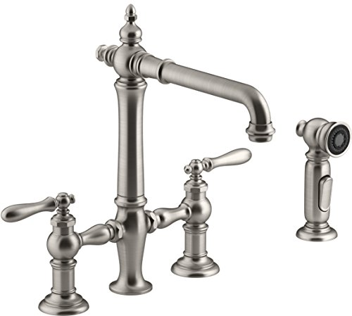 Kohler K-76519-4-VS Artifacts Deck-Mount Bridge Kitchen Sink Faucet with Lever Handles and sidespray Vibrant Stainless
