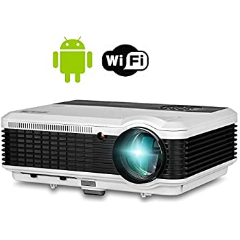 EUG HD LCD Android WiFi Projector HDMI 3600 Lumen  Digital Wxga Video Projector 1080P 720P Airplay Miracast Support for TV Games Movies Home Cinema Theater Outdoor Backyard Holiday Gathering