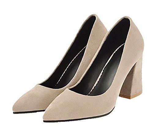 on Weenfashion shoes Solidi Smerigliato Pull Pompe Delle Toe Beige Chiuso Donne Tacchi SSYqIw6