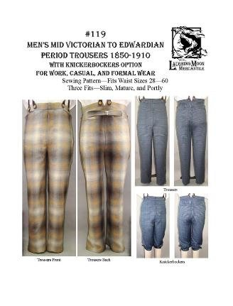 Edwardian Men's Pants  1850s - 1910s Mens Mid-Victorian to Edwardian Period Trousers with Knickerbocker Option Pattern                               $16.75 AT vintagedancer.com