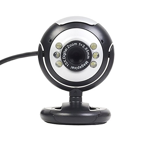 TraderPlus USB 6 LED 12.0 Megapixel HD 720P PC Webcam Web Camera with Microphone, Clip on Style for Desktop Laptop Network Skype by TRADERPLUS (Image #1)