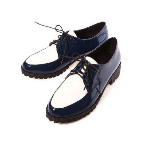 Charm Fot Mode Kvinna Låg Klack Snörning Tillfälliga Oxfords Skor Svart