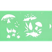 """12"""" x 7"""" (30cm x 17.5cm) Reusable Flexible Plastic Stencil (2 STEPS) for Cake Design Decorating Wall Home Furniture Fabric Canvas Decorations Airbrush Drawing Drafting Template - Wild Mushrooms"""