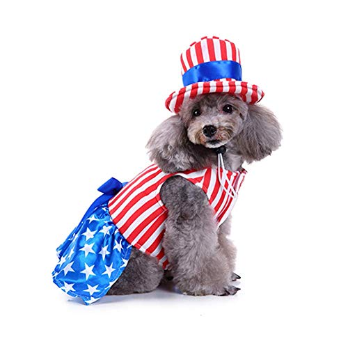 Delifur Dog Costume USA Flag Style Pet Stripes Clothes with Hat for Independece Day or Memorial Day