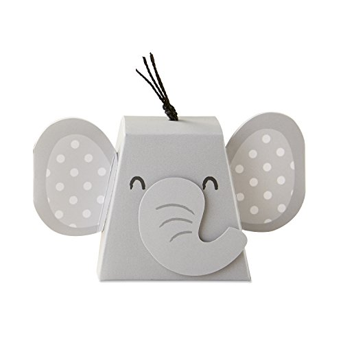 Kate Aspen 28381NA Adorable Elephant Favor Box (Set of 12) One Size Grey & Black ()