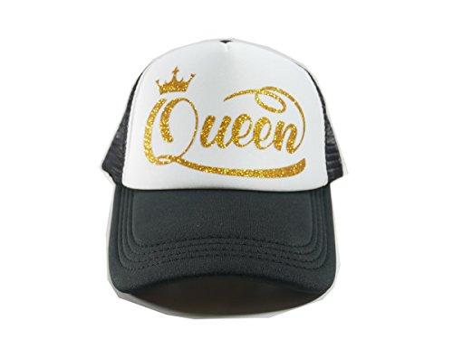 MeeTang Queen Crown Trucker Hat With Gold Glitter Lettering (Queen Crown (Queen Trucker Hat)