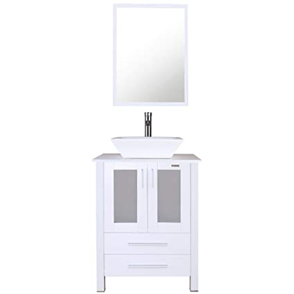 Eclife White Bathroom Vanity Cabinet And Sink Units Modern Stand Pedestal  With Square White Ceramic Vessel