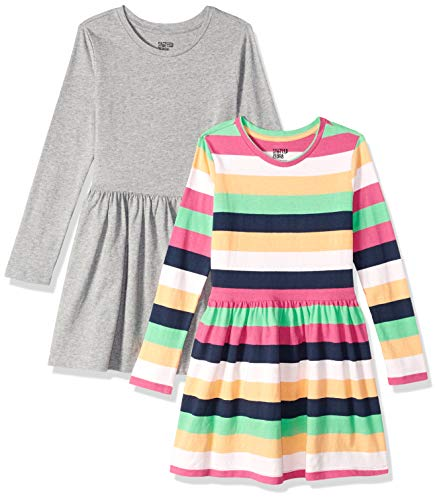 Multi Stripe Dress - Spotted Zebra Toddler Girls' Knit Long-Sleeve Play Dress, Multi-Stripe/Grey, 3T