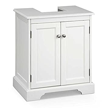 Superbe Bathroom Pedestal Sink Storage Cabinet   White