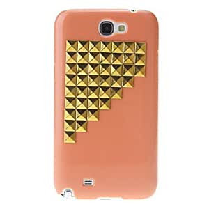 Gold Stairs Rivet Pattern Hard Back Cover Case for Samsung Galaxy Note2 N7100