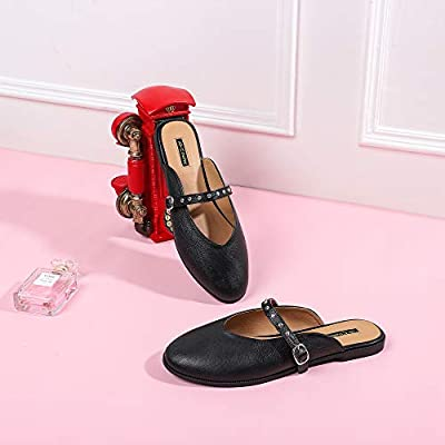 CINAK Mules Flats Shoes for Women Round Toe Slippers Backless Rivet Slip On | Mules & Clogs