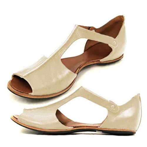 Pants Playset - Women Flat Sandals,Casual Retro Peep Toe Roman Sandal,Ankle Greece Shoes (US:7, Beige)
