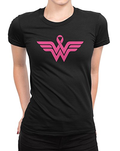 (Breast Cancer Awareness Pink Ribbon Superhero Logo Ladies T-Shirt Small Black)