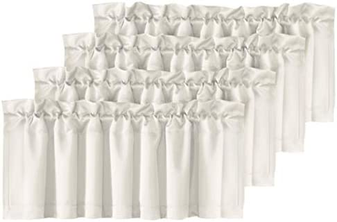 H.VERSAILTEX Home Decorative Thermal Insulated Valances for Windows Rod Pocket Room Darkening Curtain Valances for Bedroom Foyer, 4 Pack, 52 inch x 18 inch, Cream