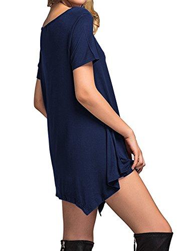 Delle Allentata Le Blu Tunica Navy Del Vestito Per Casuale Del Donne Manicotto Dall'oscillazione Stella Vestito Vestito Secolo Lunghezza Ginocchio Donne Breve Dalla Maglietta Vestito dwIBqRB