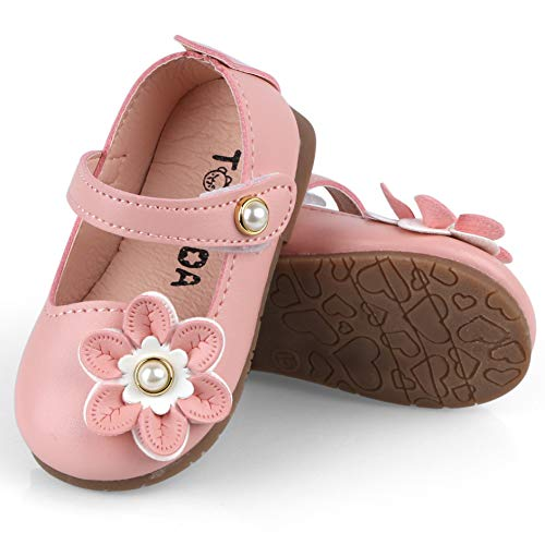 UniBaby7 Baby Girl Shoes Soft Sole Pink Walking Shoes with Flowers Infant Prewalker Mary Jane Flat Dress Crib Shoes for 4 4.5 5 5.5 6 6.5 M Toddler Girls (Size 15/4M US Infant, Pink)