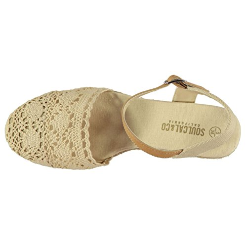 Soul Cal Womens Crochet Wedge Sandals Cream GBbOQ7es7a