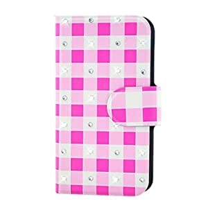 Generic Rhinestone Pink And White Square Design Card Slot Magnetic PU Leather Flip Case Cover Compatible For Haier i857