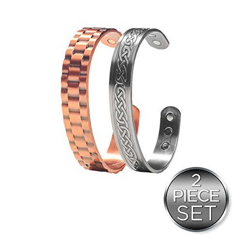 Power Duo Men's Copper Magnetic Bracelets - Recovery and Injury relief now in Duo Gift Pack- Earth Therapy Jewelry