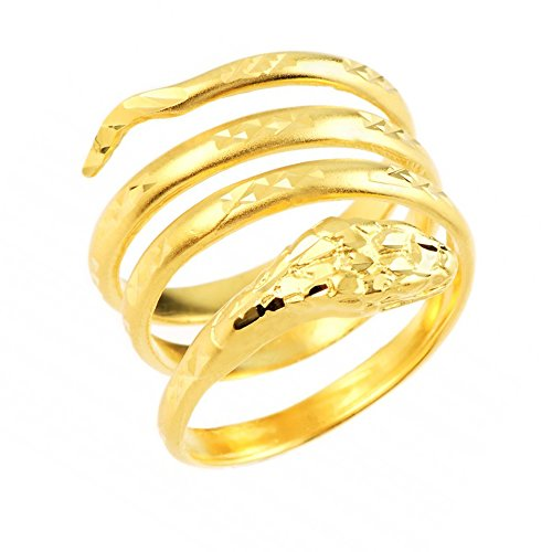 Polished 14k Yellow Gold Coil Wrap Band Snake Ring (Size 8)