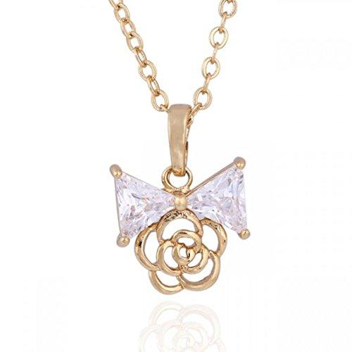 Collier noeud papillon et fleur oxyde de zirconium plaqué or