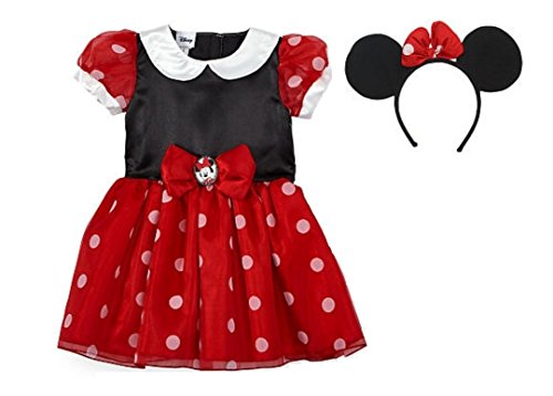 Minnie Mouse Red Dress (Toddler Girls Disney Junior Deluxe Red Minnie Mouse Dress Costume w Ears (4T/5T))