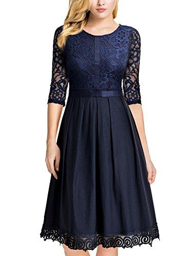 Blu Donna Pizzo Floreale Coctel Elegante Vestito MIUSOL XTnPxYw