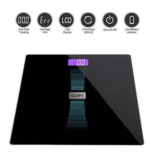 Large Capacity 200kg / 440lb /31st Bathroom Scale/Digital Weighing Scale High Precision Step-on Slim Smart Design Tempered Glass Platform Backlight LCD Display