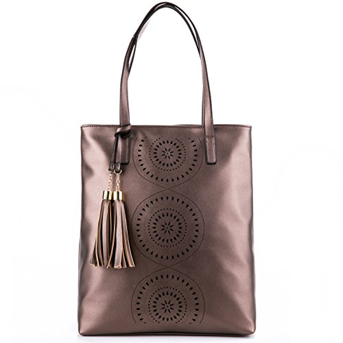 Cinnamon Leather Handbags (Minch Tassels Leather Designer Handbags-Perforated Tote Shoulder Bags for women work (cinnamon))