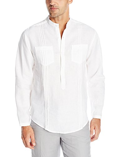 Cubavera Men's Double Chest Pocket with Tucking Long Sleeve Popover Shirt, Bright White, Small (Double Pockets Long Sleeve)