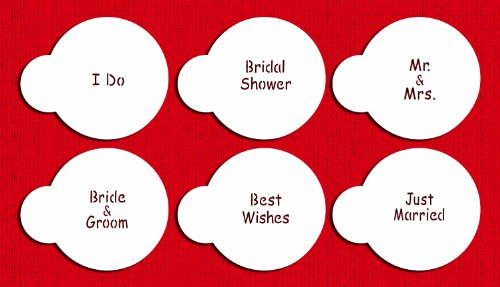 (Designer Stencils C826 Wedding Lettering Cookie Stencil Set, (BRIDE & GROOM - BEST WISHES - JUST MARRIED - I DO - BRIDAL SHOWER - MR. & MRS) Beige/semi-transparent)