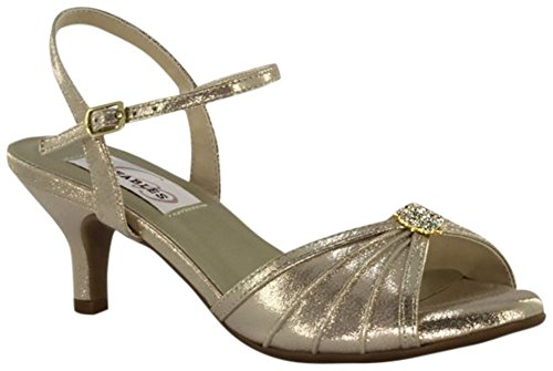 Davids Bridal Kelsey Pleated Quarter-Strap Heels With Ornament Style 39214 Champagne 992piE