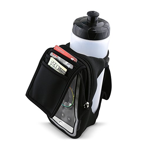 Gear Beast Handheld Running Water Bottle [23 oz] With Clear Touchscreen Cell Phone Accessory Pouch Zippered Pocket and Card Holder Fits All Smartphones, Hydration Pack For Running Hiking Travel & More by Gear Beast (Image #4)