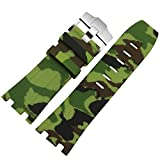 Green Camo 28mm Rubber Watch Strap Band OEM style for AP Royal OAK Offshore