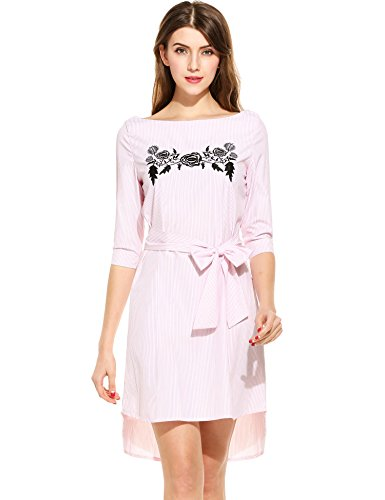 ANGVNS Womens Floral Embroidered Striped