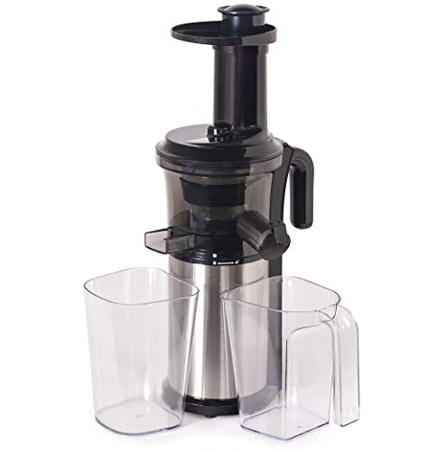 Shine Kitchen Co. Vertical Slow Juicer, SJV-107-A Cold Press, Masticating Juice Extractor, Silver and Black -