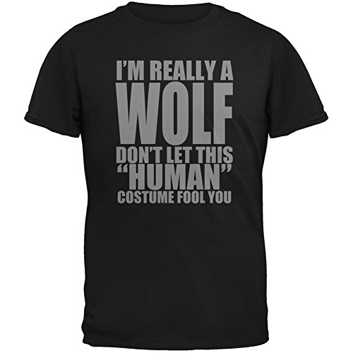 [Halloween Human Wolf Costume Black Adult T-Shirt - Large] (Human Wolf Costume)
