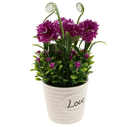 Artificial Potted Flower Plants with Ceramic Vase Wedding Flower Supplies |Color - #2 Purple|