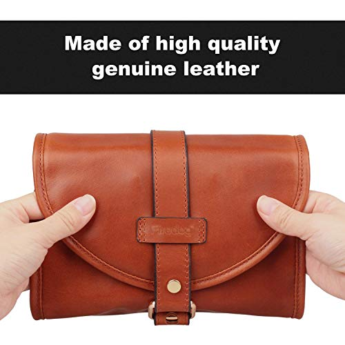 Firedog Pipe Tobacco Pouch, Smoking Pipe Bag Holder Leather Travel Roll up Vintage Case for 2 Pipes Accessories by firedog (Image #1)