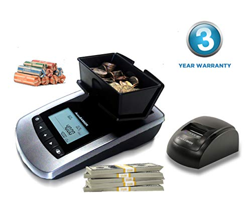 AccuBANKER MS10 Portable Money Scale and Printer Bundle, Multi-Currency USD-CAD-EUR Bill and Coin Counter Counts Both Loose and Rolled/Strapped Bills/Coins (New MP20 Printer Included)