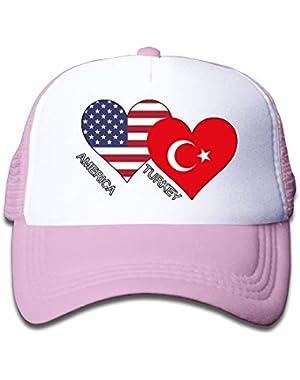 America Turkey Flag Heart On Kids Trucker Hat, Youth Toddler Mesh Hats Baseball Cap