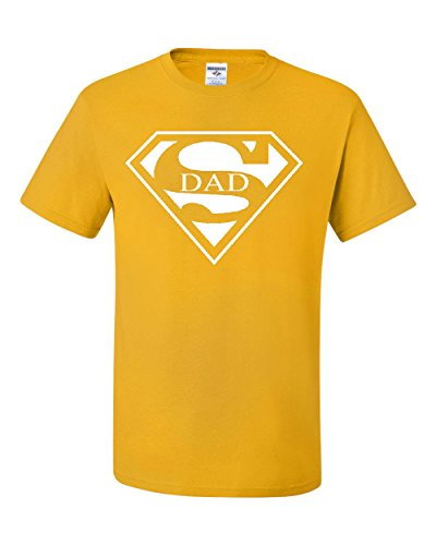 Super Dad T-Shirt Funny Superhero Father's Day Tee Shirt Yellow M ()